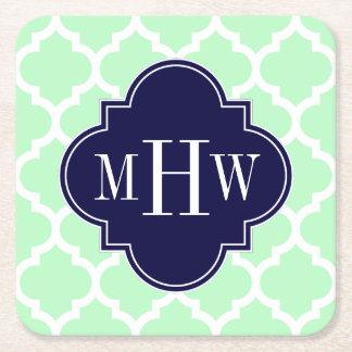 Acuñe el monograma inicial de los azules marinos 3 posavasos personalizable cuadrado