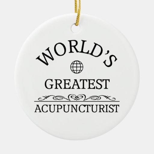 Acupressurist más grande del mundo adorno navideño redondo de cerámica