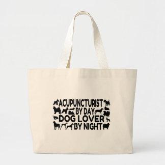 Acupuncturist del amante del perro bolsa tela grande
