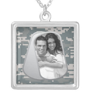 ACUs Pattern and Customizable Photo Dog Tags Silver Plated Necklace