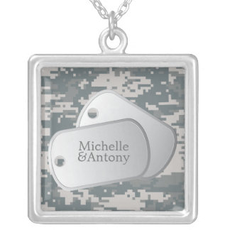ACUs Pattern Customizable Dog Tags Silver Plated Necklace