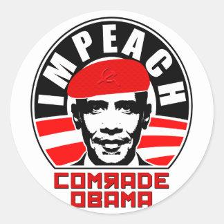 Acuse a camarada Obama Pegatina Redonda
