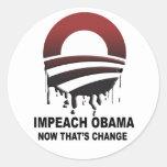 Acuse a Obama - ahora que es el cambio Pegatinas Redondas
