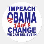 Acuse a Obama Pegatina Redonda