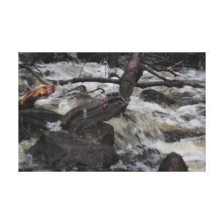 Acushnet River Waterfall Wrapped Canvas Print