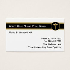 Acute Care Nurse Practitioner Business Card at Zazzle