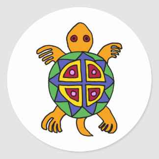 AD- Awesome Turtle Mexican Art Style Classic Round Sticker