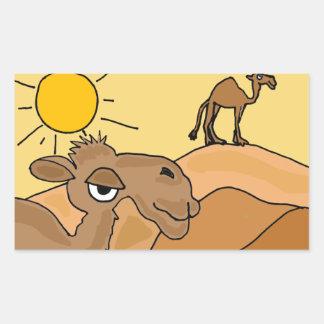 AD- Camel in the Desert Folk Art Rectangle Sticker
