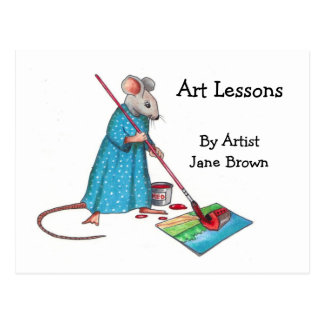 Ad For Art Lessons: Lady Mouse Painting A Picture Postcard