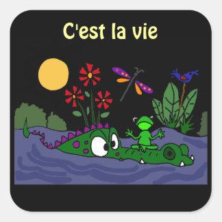 AD- Frog Sitting on Alligator Nose Cartoon Square Sticker