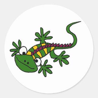 AD- Funny Colorful Iguana Design Classic Round Sticker