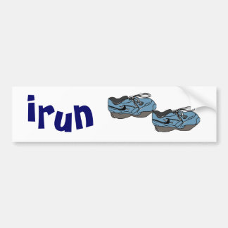 AD- Funny irun cartoon bumper sticker for runners Car Bumper Sticker