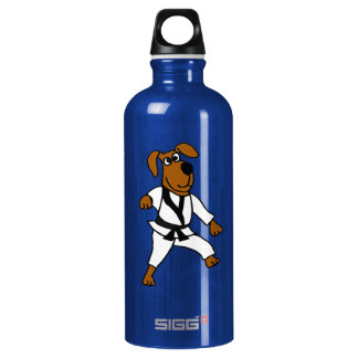 AD- Funny Martial Arts Brown Puppy Dog Water Bottl Aluminum Water Bottle