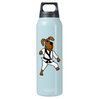 AD- Funny Martial Arts Brown Puppy Dog Water Bottl Insulated Water Bottle