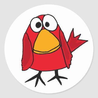 AD- Funny Sad Cardinal Bird Cartoon Classic Round Sticker