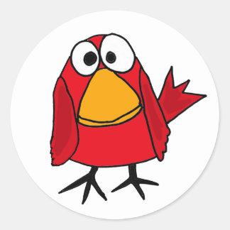 AD- Funny Sad Cardinal Bird Cartoon Classic Round Sticker