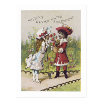Ad Label Shoe Dressing Girl Boy Victorian Postcard