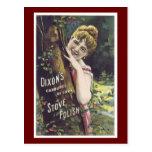 Ad Label Stove Polish Victorian Lady Postcard
