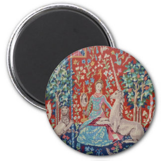AD- Lady and the Unicorn Tapestry Art Design 2 Inch Round Magnet