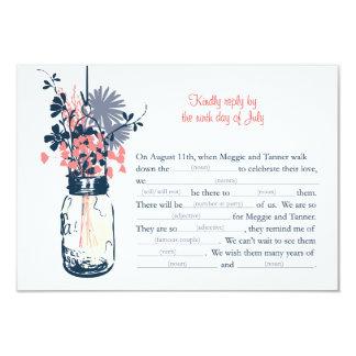 AD LIB RSVP Card  Wild Flowers & Mason Jar