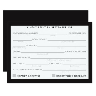 AD LIB RSVP REPLY fun simple bold minimal black Card