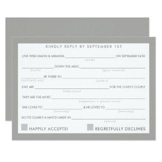 AD LIB RSVP REPLY fun simple bold minimal gray Card