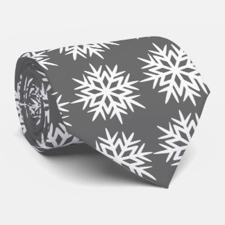 Ad Man Snowflake Foulard Charcoal Gray Two-sided Tie