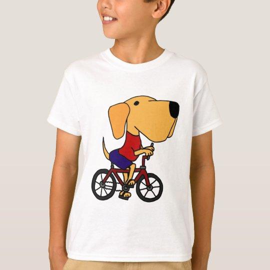 AD- Yellow Labrador Dog Riding Bicycle Cartoon T-Shirt