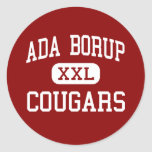 Ada Borup - pumas - alto - Borup Minnesota Etiquetas Redondas