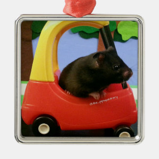 Ada Learns to Drive! Square Metal Christmas Ornament
