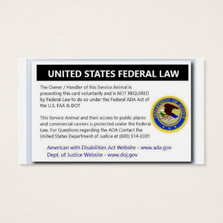 ADA Service Dog Law Handout cards