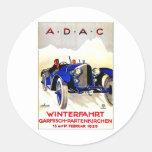 ADAC German Auto Race ~ Vintage Automobile Ad Round Sticker