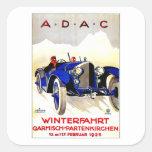 ADAC German Auto Race ~ Vintage Automobile Ad Square Sticker