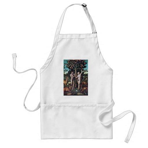 Adam And Eve By Cranach D. Ä. Lucas (Best Quality) Aprons