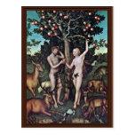 Adam And Eve By Cranach D. Ä. Lucas (Best Quality) Post Card
