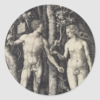 Adam and Eve Engraving by Albrecht Durer Classic Round Sticker