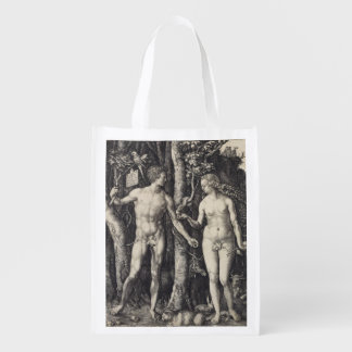 Adam and Eve Engraving by Albrecht Durer Grocery Bag