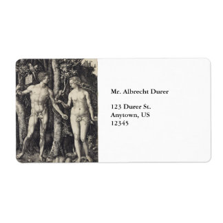 Adam and Eve Engraving by Albrecht Durer Shipping Label