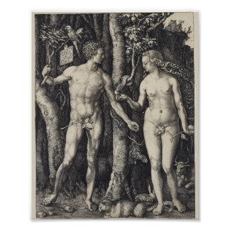 Adam and Eve, Engraving by Albrecht Durer Poster