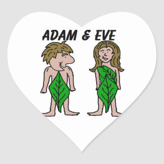 Adam and Eve Heart Sticker