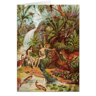 Adam And Eve In The Garden Card