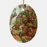 Adam And Eve In The Garden Double-Sided Oval Ceramic Christmas Ornament