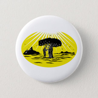 Adam and Eve Serpent Tree Woodcut Pinback Button