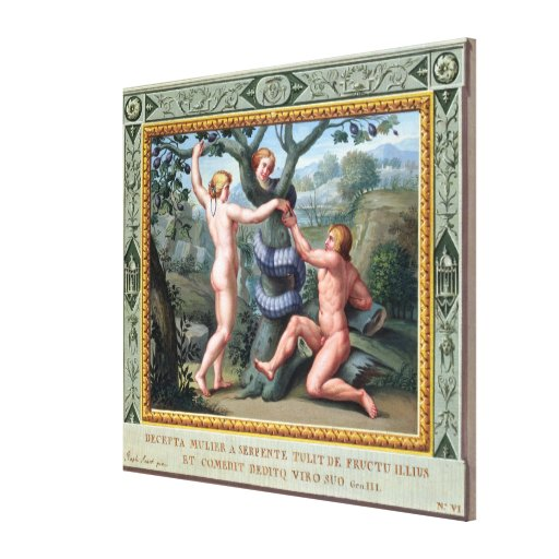 Adam and Eve with the Serpent, illustration from t Stretched Canvas Prints