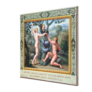 Adam and Eve with the Serpent, illustration from t Canvas Print