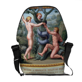 Adam and Eve with the Serpent, illustration from t Courier Bag