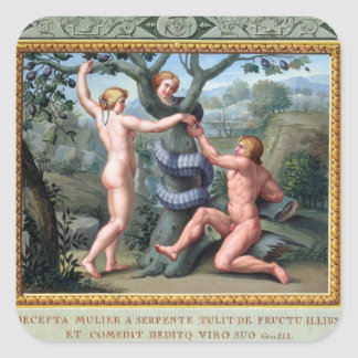 Adam and Eve with the Serpent, illustration from t Square Sticker