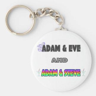 Adam & Eve & Adam & Steve Basic Round Button Keychain
