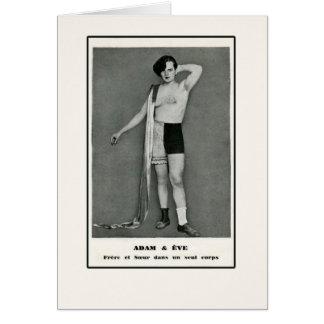 Adam & Eve Half Man Half Woman Card