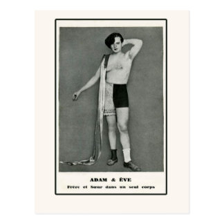 Adam & Eve Half Man Half Woman Postcard